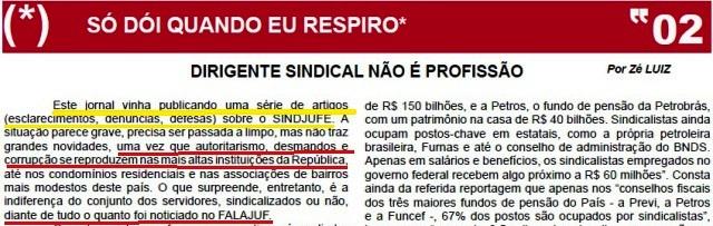 DIRIGENTE SINDICAL NÃO É PROFISSÃO, FALAJUF 374, MODIFICADO