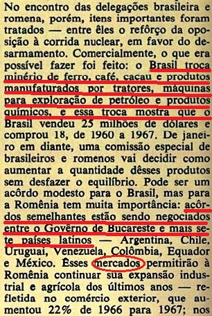 romênia, Brasil, 1968, 3; VEJA, 06NOV68