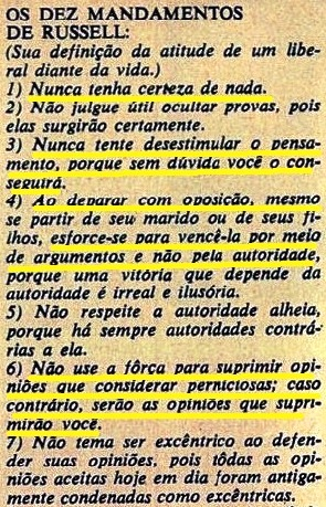 BERTRAND RUSSEL, mandamentos, 1, Veja, fev 1970
