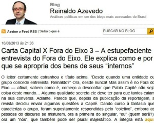 REINALDO, FORA DO EIXO