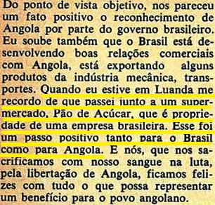 Fidel gosta de multinacional brasileira em angola