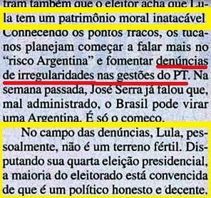 Lula, patrimônio moral, decente, honesto... Veja -22maio02