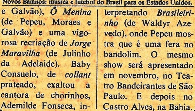 Novos baianos, nota da POP, outubro 75, C