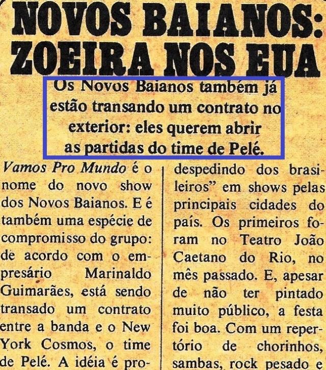 Novos baianos, nota da POP, outubro 75