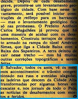 tragédias na bahia 2, veja, 1969 , ENGARRAFAMENTO