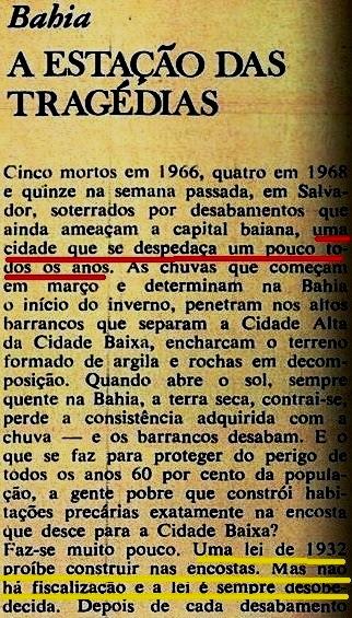 tragédias na bahia, veja, 1969, 1