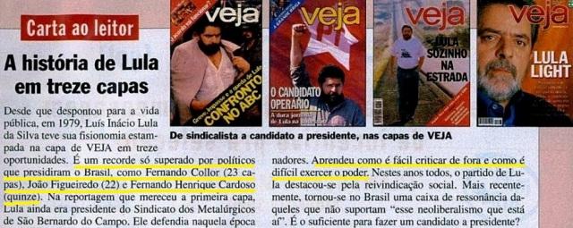 Veja, editorial Lula na capa, 22maio02
