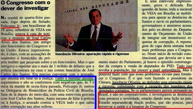escândalo dos anões do orçamento, VEJA, 1993, EDITORIAL 1