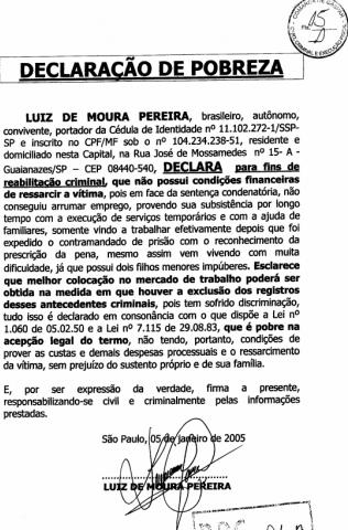 deputado luiz moura, declaração de pobreza