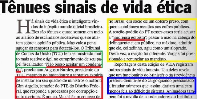TÊNUES SINAIS DE ÉTICA, EDITORIAL, VEJA 23ABR14, 1