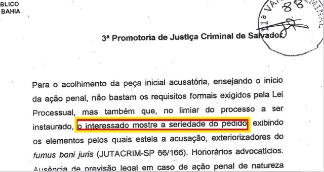 mp bahia, ação penal arquivada, EXTRATO 1 (fl.2, SERIEDADE)