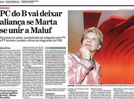 pcdob x maluf, ESTADÃO, 2007