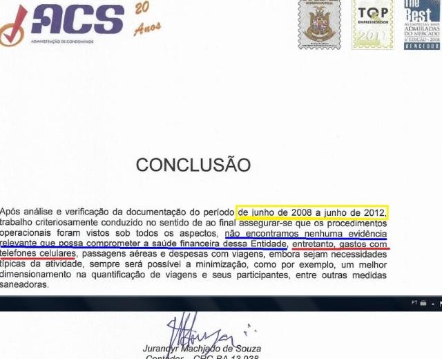 auditoria, relatorio JUNHO 2008 A JUNHO2012, CONCLUSAO