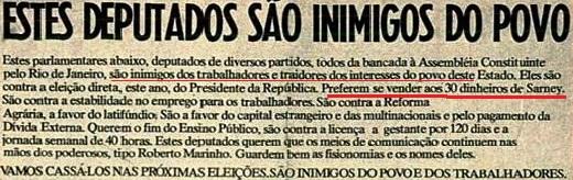 cut, pt, inimigos do povo, sarney, VEJA, fev 1988
