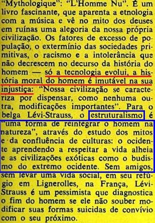 ESTRUTURALISMO, LEVY-STRAUS, veja, 19jan1972