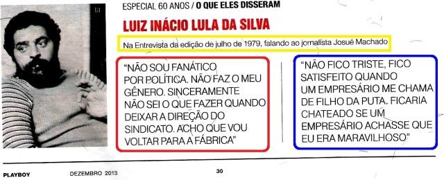 Lula, ia se aposentar, palyboy julho de 1979