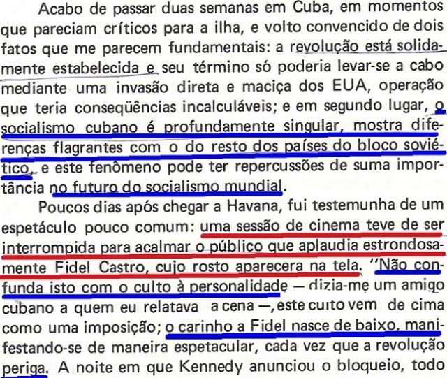 Vargas Llosa, CONRA VENTO E MARÉ, fl. 29, fidel, Cuba