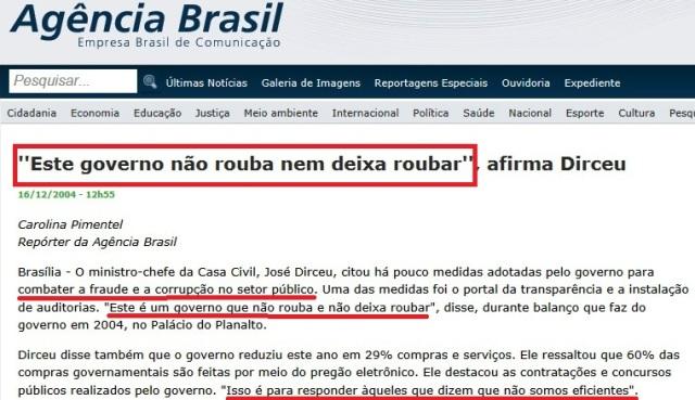 dirceu, agência brasil, este governo não rouba