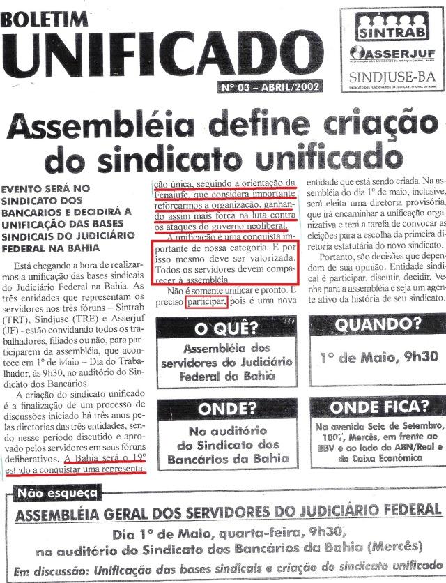 sintrab, 2002, UNIFICAÇÃO página inteira