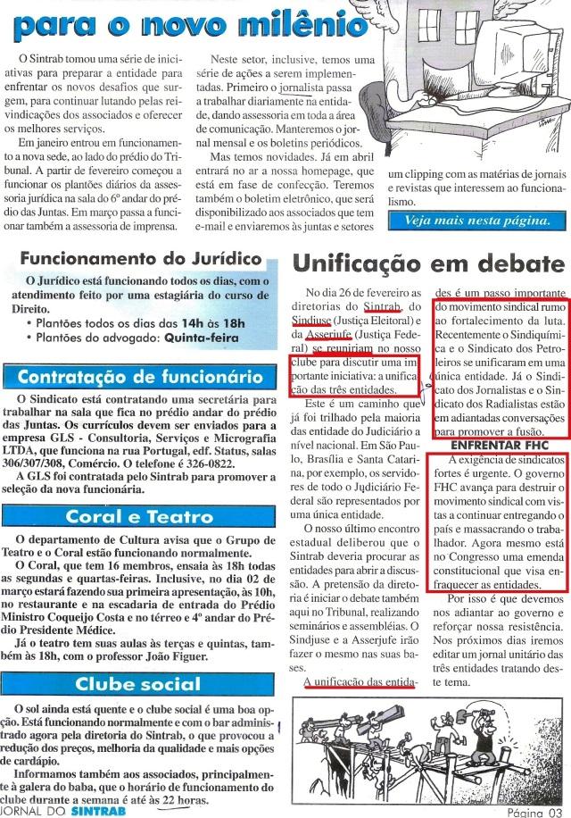 SINTRAB, UNIFICAÇÃO em debate página inteira