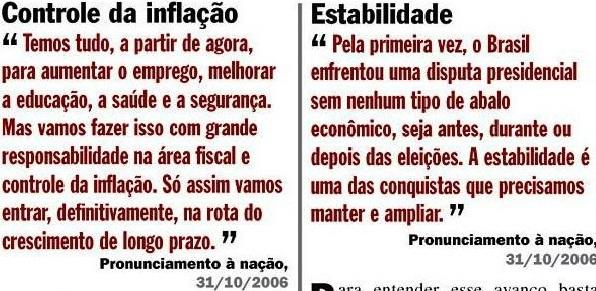 DILMA, RESPONSABILIDADE FISCAL, CONROLE DA INFLAÇÃO, Veja, 08nov2006