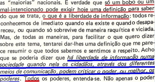 VARGAS lLHOSA, CONTRA VENTO E MARÉ, LIBERDADE DE INFORMAÇÃO,fl.285, parte 1