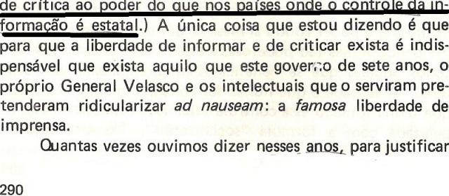 VARGAS lLHOSA, CONTRA VENTO E MARÉ, LIBERDADE DE INFORMAÇÃO,fl.290, parte3