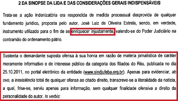 CONTESTAÇÃO SINDJUFE 8a vara, ENRIQUECER INJUSTAMENTE