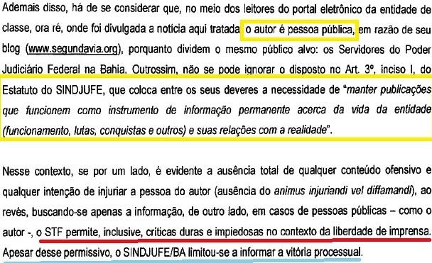 CONTESTAÇÃO SINDJUFE 8a vara, PESSOA PÚBLICA
