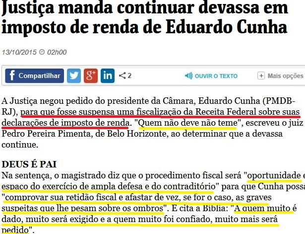 JUIZ NEGA PEDIDO DE EDUARDO CUNHA