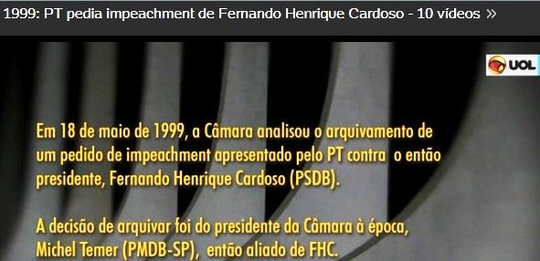 PT, ZÉ DIRCEU, PEDEM IMPEACHEMENT DE FHC