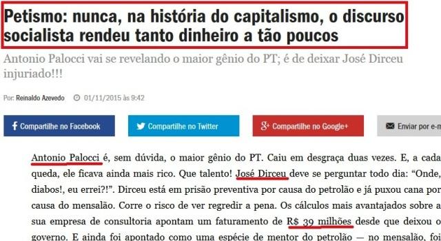 REINALDO AZEVEDO, OS MILIONÁRISO DO PT