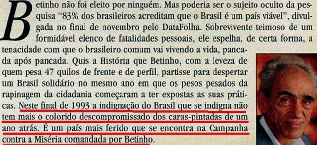 betinho, 2, Veja dez 1993
