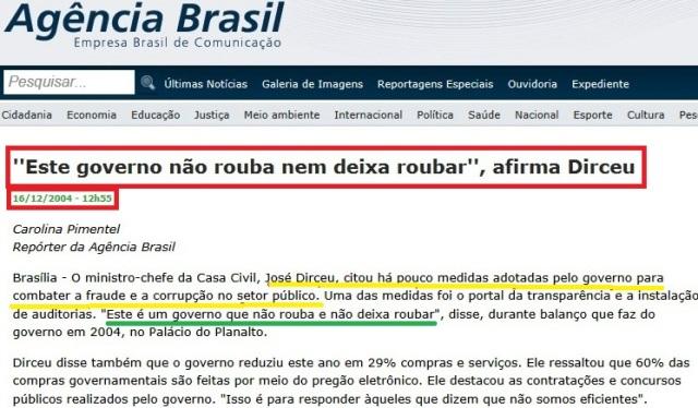 DIRCEU, GOVERNO NÃO ROUBA, AGÊNCIA BRASIL