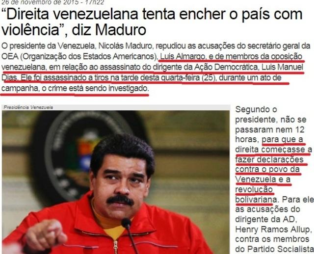 VENEZUELA,PCdoB DIZ QUE A VIOLÊNCIA É DA DIREITA