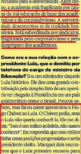 CRISTÓVÃO BUARQUE 13, páginas amarelas, Veja 20jan16