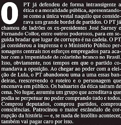 O PT JÁ DEFENDEU ÉTICA, no-espelho-veja-21nov12-2