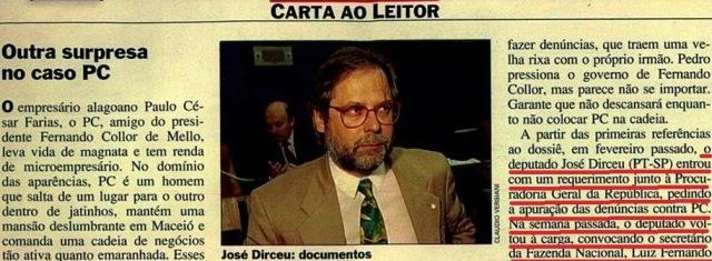 DIRCEU COLABORA COM VEJA, 20maio1992, parte 1