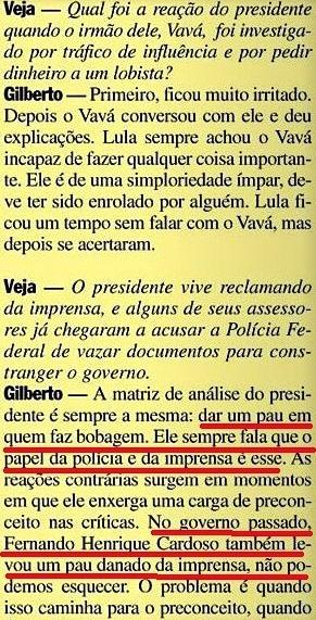 Gilberto Carvalho, Veja, amarelas 10, IMPRENSA, 2008