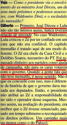 Gilberto Carvalho, Veja, amarelas 12, mensalão, dirceu, delúbio, 2008