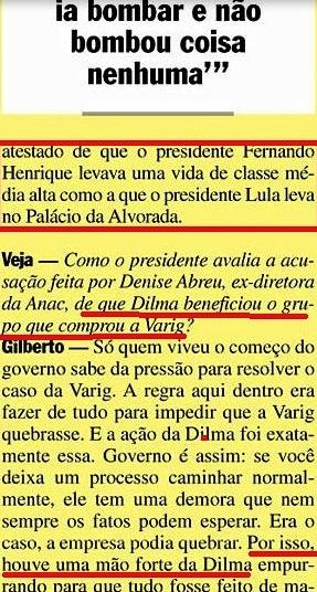 Gilberto Carvalho, Veja, amarelas 14, dilma, varig, 2008