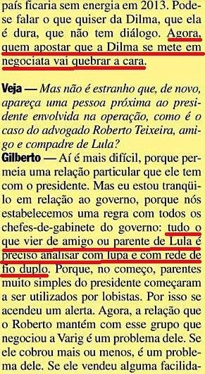 Gilberto Carvalho, Veja, amarelas 15, Roberto teixeira, 2008