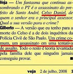 Gilberto Carvalho, Veja, amarelas 16, Celso Daniel, 2008