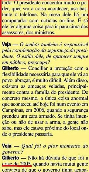 Gilberto Carvalho, Veja, amarelas 6 ,LULACONTROLAVA TUDO, 2008