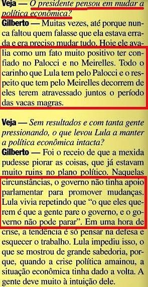Gilberto Carvalho, Veja, amarelas 9, carinho por palocci e meireles, 2008