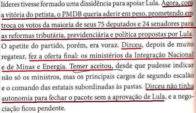 DIRCEU, A BIOGRAFIA, fl. 174, O PMDB QUER ADERIR, TEMER, PORTEIRA FECHADA
