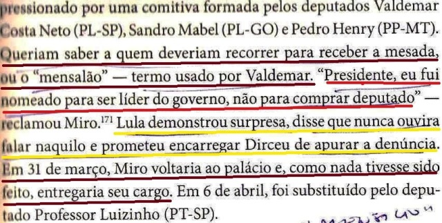DIRCEU, A BIOGRAFIA, FL. 211, MIRO ENTREGA O CARGO, MENSALÃO