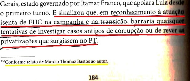 DIRCEU, A BIOGRAFIA, fls. 184, FHC, NADA DE REVER PRIVATIZAÇÕES...
