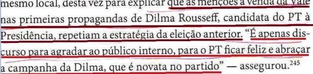 DIRCEU,A BIOGRAFIA, fl. 282, reestatização é discurso eleitoral, DILMA