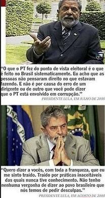 LULA SE DECLAROU TRAÍDO, NO MENSALÃO
